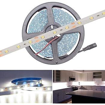 HitLights Weatherproof LED Light Strip - 5000K SMD 3528 - 300 LEDs, 16.4' Roll - 12V DC - 82 Lumens / 1.5W per Foot, Cool White