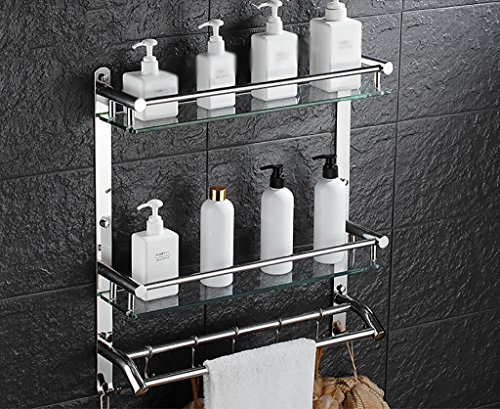 Bathroom Rack YSJ Salle de Bains Verre rectangulaire étagère Murale Verre trempé Extra épais, Section Lumineuse (Taille : 41 * 13 * 56cm)