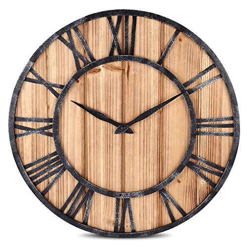FOKOM Wanduhr, Holz Lautlos Vintage Wanduhr Uhr Wall Clock-Ø 40cm