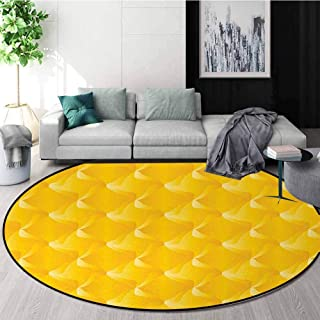 Yellow Modern Round Abstract Area Rug,Abtract Shaded Curving Lines And Swirling Motifs Patterns Decorative Style For Living Non-Slip No-Shedding Kitchen Soft Floor Mat Diameter-31 Inch,Yellow