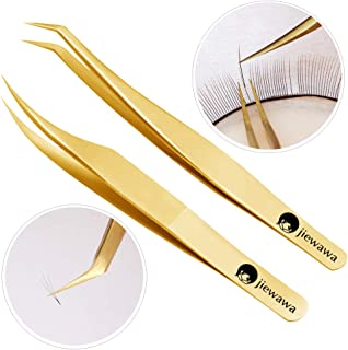 2 Pieces Dolphin-shaped and Curved Tip Tweezers Nipper for Eyelash Extensions, Stainless Steel Tweezers Precision Set Professional Tweezer for False Lash, for Single Lash and 3D-6D Volume Lashes
