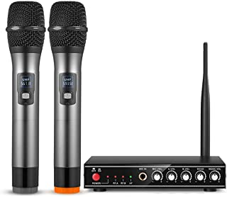 Wireless Microphone, Frunsi UHF Cordless Microphone with Echo Control, Multiport Receiver, Long Range Wireless Signal for ...