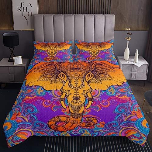 Tbrand Conjunto de colcha para mujer, diseño bohemio con elefante, para niñas y adultos, de estilo exótico, bohemio, estilo salvaje, estilo étnico, decoración de elefante, tamaño individual