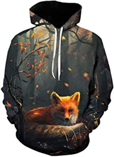 SLYZ Men's Autumn and Winter New Personality Fashion 3D Printing Wolf Pattern Long-Sleeved Men's Sweater Top