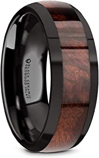 Thorsten Grove | Tungsten Rings for Men | Tungsten | Comfort Fit | Black Carbide Wedding Ring Band with Redwood Wood Inlay and Polished Beveled Edges - 8mm