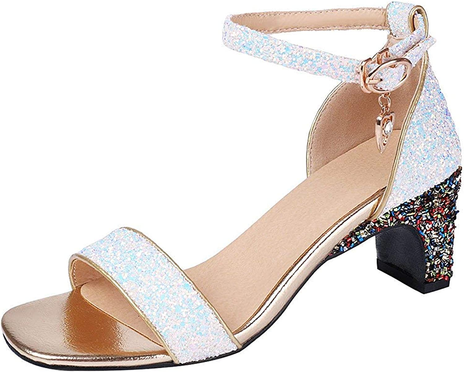 Ghapwe Women's Fashion Sequined Ankle Strap Sandals - Glitter Open Toe Pendant - Buckle Chunky Medium Heel Club shoes Purple 8 M US