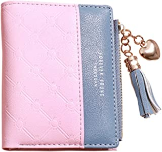 Pusaman The New Student Small Purse, Cute Short Paragraph Folded Student Clutch, Multifunction Wallet (Color : Pink, Size : 12 * 8.5 * 3CM)