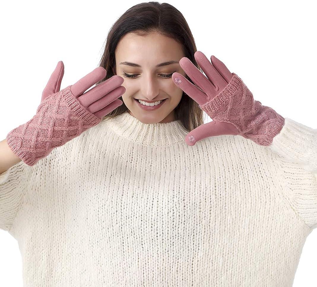 Women Gloves Touchscreen Winter Warm Fingerless Knit Mittens Texting Gloves