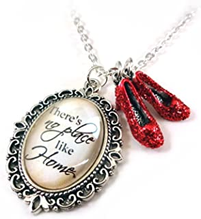 There's No Place Like Home & Dorothy's Ruby Red Slippers Wizard of Oz Charm Necklace