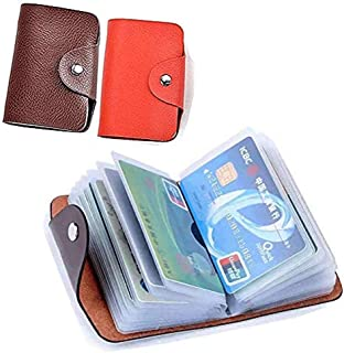 Unisex Small Leather Credit Card Holder Protector Wallet Bag with - 24 Card Slots 2 Pack (Redk&Brown)