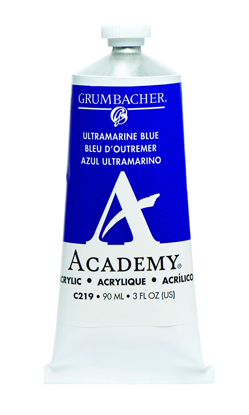 Grumbacher Academy Acrylic Paint, 90ml/3 oz Metal Tube, Ultramarine Blue