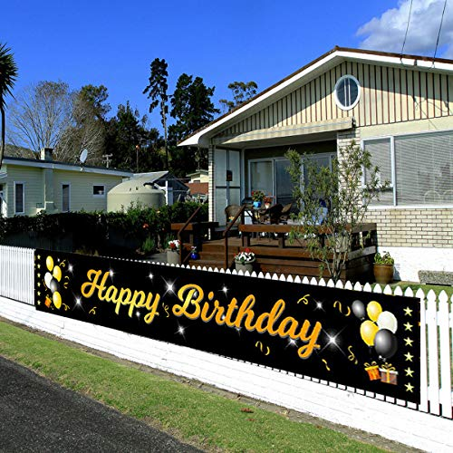 Birthday Banner Outdoor Yard Signs Happy Birthday Party Decorations Supplies Black and Gold LARGE 9.7 * 1.64 Feet