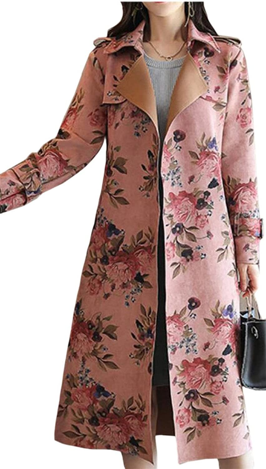 HTOOHTOOH Women's Long Sleeve Notched Lapel Accept Waist Suede Printing Trench