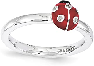 Sterling Silver Stackable Enamel .015Ctw Diamond 7mm Ladybug Ring