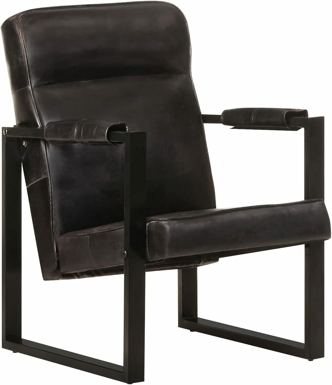Festnjght Sillon Relax, Sillon orejero de Cuero de Cabra Real, Butaca para Dormitorio Salon, 60x75x90 cm