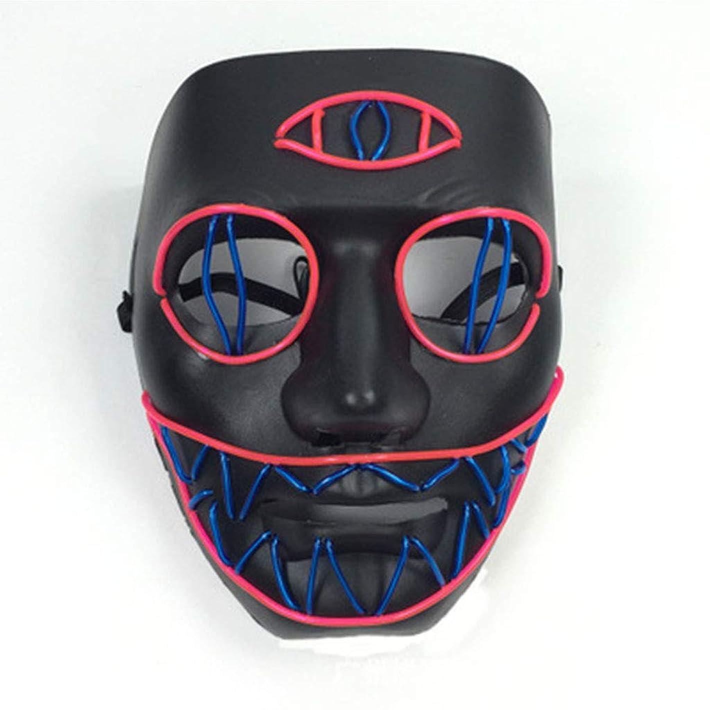 充電ショッピングセンター中毒LEDライト怖いマスク、ノベルティハロウィーンコスチュームパーティー不気味な小道具、安全なELワイヤーPVC DJマスクLED