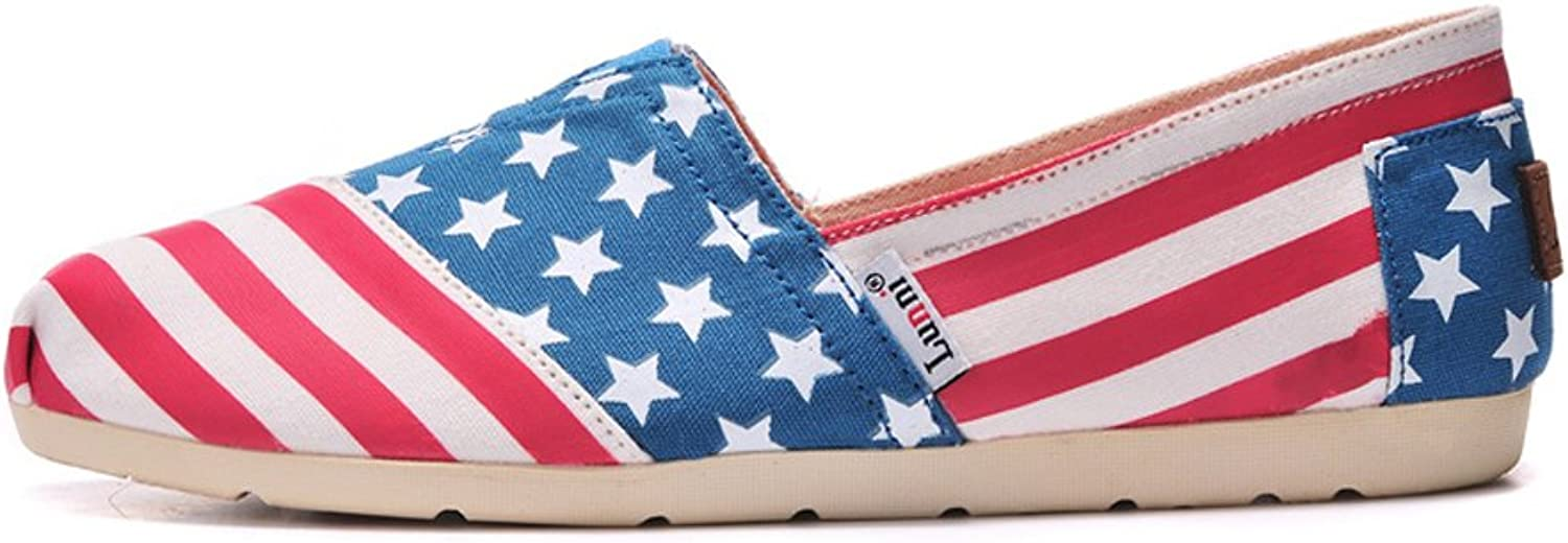 Lunni Women's The American Flag Design Canvas shoes Red