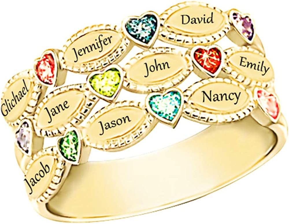 Shiny sale Superlatite Alice Personalized Mothers Rings Birthstones Simulated R 9