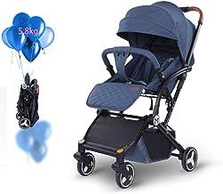 HBIAO Silla de Paseo con Respaldo reclinable Cochecito de bebé con suspensión Horizontal Alta con Sistema de Seguridad de 5 Puntos y Asiento reclinable de múltiples Posiciones