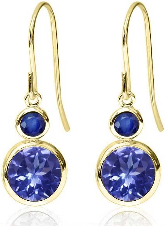 2.06 Ct Round bluee Tanzanite bluee Sapphire 14K Yellow gold Earrings