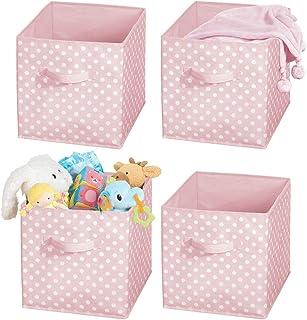 mDesign Juego de 4 Cajas organizadoras para Guardar Juguetes o Ropa en la habitación Infantil – Cajas Plegables cuadradas con asa – Cajas de Tela con diseño de Puntos – Rosa y Blanco