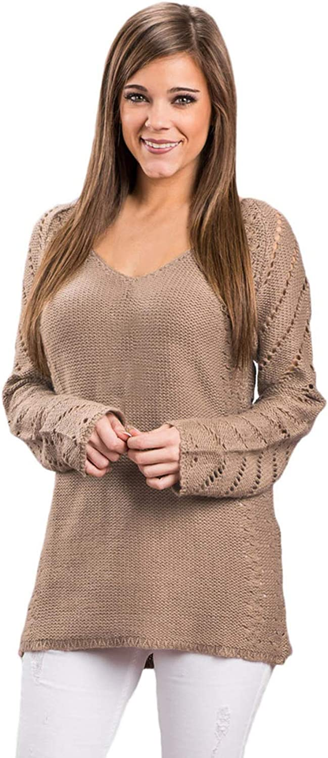 BlackThings Women's Scoop Neck Sweater Casual Lace Sleeve Knit Sweater