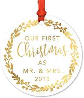 Andaz Press Wedding Couple Round Metal Christmas Ornament, Our First Christmas as Mr. & Mrs. 2019, Gold Holiday Wreath, 1-Pack, Includes Ribbon and Gift Bag