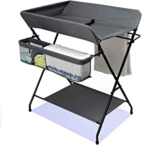 Changing Table Changing Unit Infant Changing Diaper Table Folding Changing Station Portable Dresser Toddler for 0-3 Years Old  Color Gray  Size