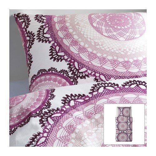 IKEA LYCKOAX weiß lila Bettwäscheset 2 teilig 155x220cm und 80x80cm Kopfkissen Bettbezug 100% Baumwolle