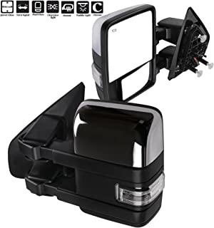 ECCPP F150 Towing Mirrors, A Pair of Exterior Automotive Mirrors fit 2004-2014 Ford F-150 with Auxiliary/Puddle Lights Signal Indicator and Power Operation Heated Chrome Housing