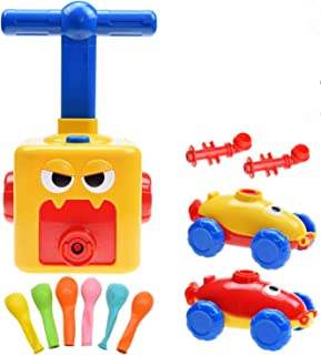 Balloon Powered Car and Launcher Set, Creative Balloon Power Racer Air Inertial Car Toy Balloon Launch Toy Launch Pad with...