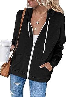 OrientalPort Felpa da donna con cappuccio, casual, a maniche lunghe, leggera, tinta unita, con chiusura lampo