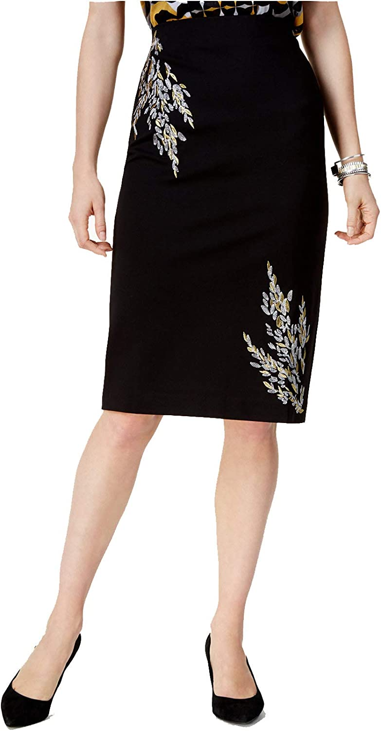 Alfani Womens Embroidered Metallic Pencil Skirt