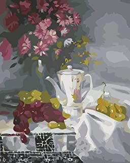 JOLOMOY Paint by Numbers Kits for Adults, DIY Digital Oil Painting by Number for Kids Beginner - Flowers Grapes Teapot 16X20 inch Number Painting (Frameless)