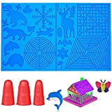 JSXD 3D Pen Mat,17.5 x 11 Inches Large 3D Printing Pen Mat Pad for 3D Beginners,Kids and Adults,Silicone Basic Template Tools for 3Doodler/MYNT3D Pen,Come with 3 Finger Protectors (Blue)