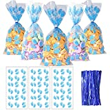 HADDIY Baby Shower Cellophane Candy Bags,100 Pcs Blue Baby Footprint Treat Cello Bags with Twist Tie for Baby Boy Shower Party Favor and Gender Reveal