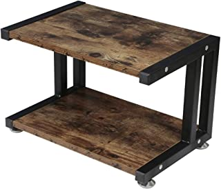 OROPY Vintage Printer Stand with 2 Tier Wood Storage Shelves, Multi-Purpose Desk Organizer for Fax Machine, Scanner, Files, Books with Adjustable Anti-Skid Feet