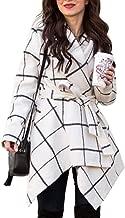 Chicwish Women's Turn Down Shawl Collar Earth Tone Check/Black White Grid/Black/Plum/Cream/Pink Wool Blend Coat