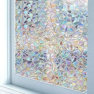 LJIEI3D pellicola di vetro elettrostatica senza colla per vetri smerigliata con griglia adesiva colorata tridimensionale