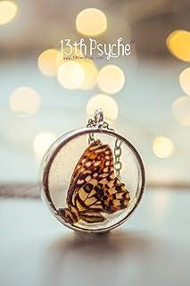 collana di farfalle di calce, gioielli di farfalle, collana di resina, ciondolo di cammeo di farfalle, collana di insetti,...