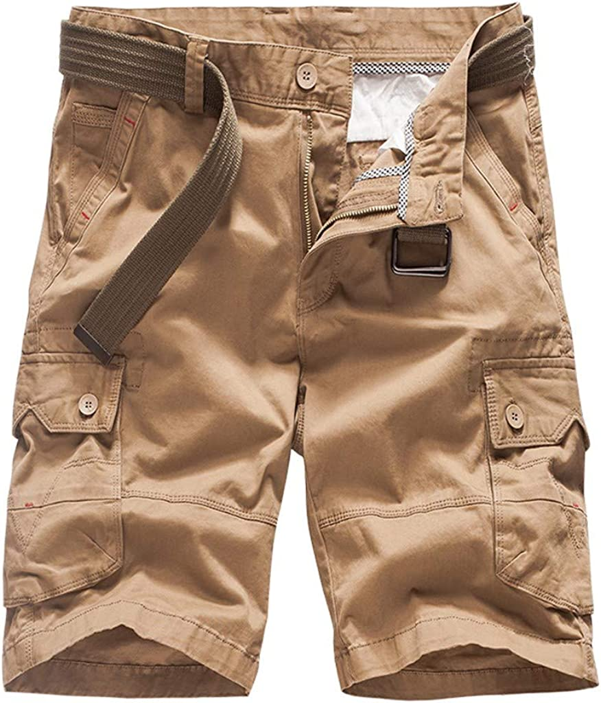 MODOQO Men's Twill Cargo Shorts, Cotton Multi Pocket Relaxed Fit Summer Workout Sweatpant