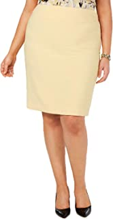 Kasper Women's Plus Size Back-Vent Skirt (Butter Yellow, 24W)
