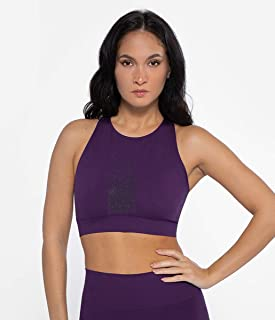 HEART AND SOUL Women's Reggiseno Sportivo, Top Donna, Riviera Tuxedo-Purple Training Bra, XS/S