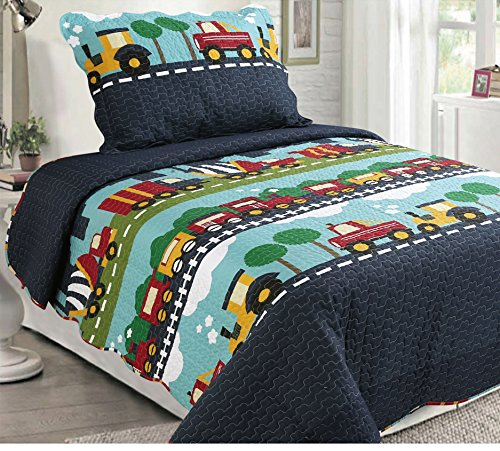 Mk Collection Bedspread Set Cars Train Boys Dark Blue Green Blue New Twin / Twin Extra 68