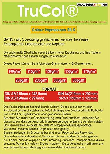 BEIDSEITIG 125 Blatt DIN A4 300g /m² seidenmatt gestrichenes weißes (Silk Coated) Fotopapier DOPPELSEITIG für Digitale Drucksysteme Farb- LASERDRUCKER und KOPIERER