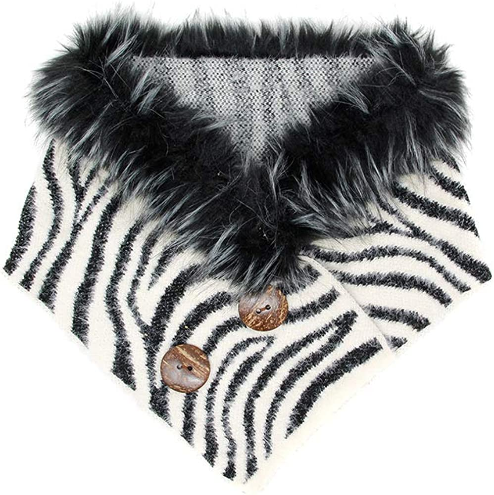 ScarvesMe Women's Faux Fur Ranking TOP19 SEAL limited product Zebra Warmer Chenille Scarf Neck Tube