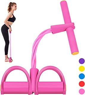 Segorts Pedal Resistance Band Super Light 4-Tube Yoga Strap Elastic Pull Rope Fitness Equipment for Sit-up Bodybuilding Ex...