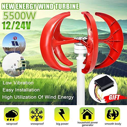 GJZhuan 2020 5500W 12V / 24V Windgenerator, 5-Blatt Vertikal Generator, Laterne Motor Kit + Controller for Hausstraßenlaterne. (Size : 12V)