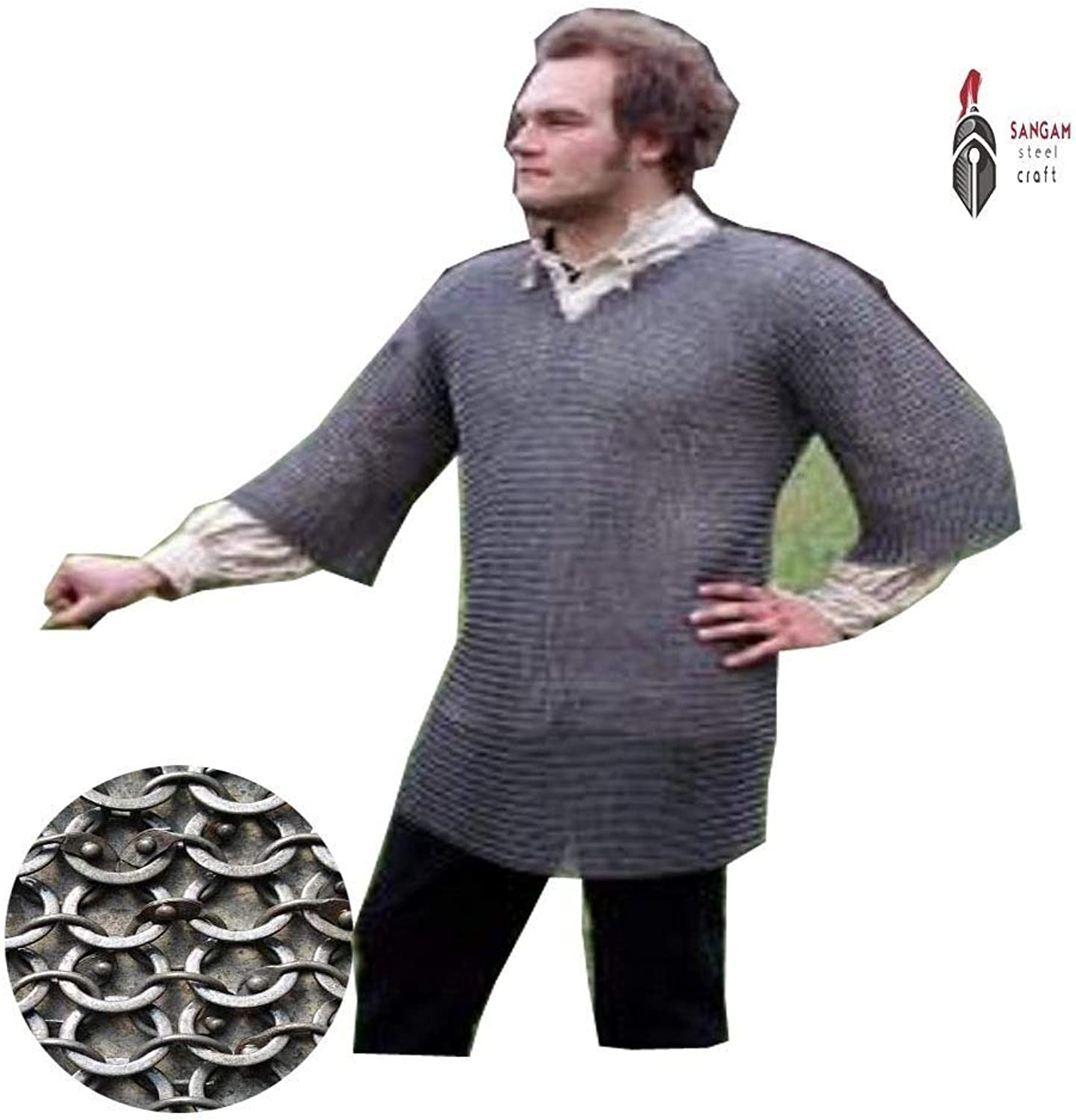 NASIR ALI Round Riveted with Flat Warser Chainmail Shirt 9 mm Half Sleeve Hubergion Shirt (Large, Oiled)