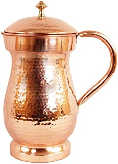 PARIJAT HANDICRAFT Handcrafted Pure Copper Water Pitcher Hammered Copper Jug Pitcher Capacity 57 Fluid Ounce Approx